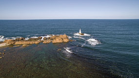 Lighthouse in Black Sea from Above- Royalty Free Stock Images