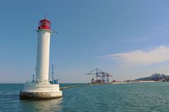 Odessa, Ukraine. Lighthouse located next to the harbour. Lighthouse in the Black sea. Touristic landmark, view from a boat stock photography