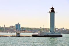 Odessa, Ukraine. Lighthouse located next to the harbour. Lighthouse in the Black sea. Touristic landmark, view from a boat stock images