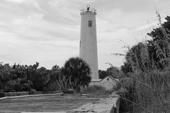 Lighthouse in black and white Stock Photo