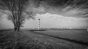 Lighthouse 8443. Lighthouse in Black & White, at Rozenburg,Netherlands Stock Image