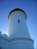 Lighthouse in the blue. The Byron Bay Lighthouse on a blue clear sky day royalty free stock photos