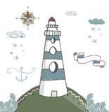 Lighthouse blue ribbon anchor kompas lighthouse white beacon, windows pharos, screed, seamark snowflake snow cloud landscape waves. Lighthouse vector anchor royalty free illustration