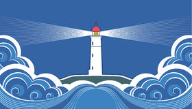 Lighthouse with blue sea. Stock Photography