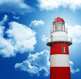 Lighthouse and blue sky. Classic red and white lighthouse and cloudy sky Royalty Free Stock Photos