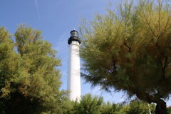 Lighthouse blue sky and green trees Royalty Free Stock Images