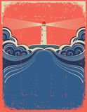 Lighthouse with blue waves Royalty Free Stock Photo