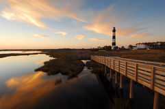 Lighthouse & Boardwalk Outer Banks North Carolina Royalty Free Stock Image