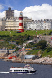 Lighthouse with boat in Plymouth, UK Royalty Free Stock Photography