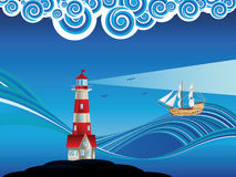 Lighthouse and Boat in the Sea Royalty Free Stock Photos