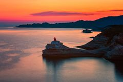 Lighthouse in Bonifacio Corsica. Lighthouse in Bonifacio, Corsica, France at Sunset stock images