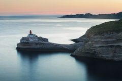 Lighthouse in Bonifacio at dusk, Corsica, France Stock Photos