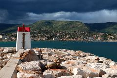 Lighthouse of Bormes les Mimosas in France Stock Photography