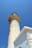Lighthouse. Bottom view of lighthouse over clear blue sky Royalty Free Stock Images