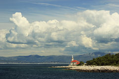 Lighthouse on Brac island Croatia. Seascape with lighthouse on Brac island Croatia royalty free stock photos