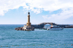 Lighthouse Bridge On Bay Royalty Free Stock Images