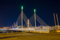 Lighthouse. And bridge in night Malmo Royalty Free Stock Photography
