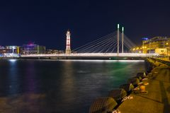 Malmo at night. Lighthouse and bridge in night Malmo Royalty Free Stock Images