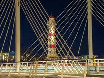 Malmo at night. Lighthouse and bridge in night Malmo Stock Image
