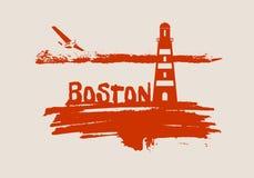 Lighthouse on brush stroke seashore Royalty Free Stock Photo