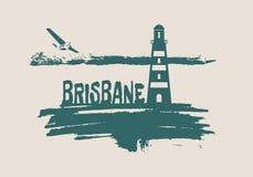 Lighthouse on brush stroke seashore Royalty Free Stock Image