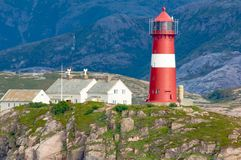 Lighthouse Buholmrasa Fyr, Sonnaholmen, Norway Royalty Free Stock Photography