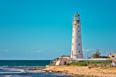 Lighthouse Building on seaside with Blue Sky on Background Royalty Free Stock Photography
