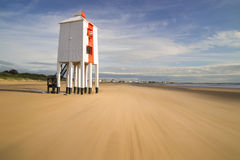 Lighthouse at Burnham-on-Sea during low tide Royalty Free Stock Photos