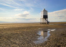 Lighthouse at Burnham-on-Sea during low tide Royalty Free Stock Photo