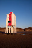 Lighthouse, Burnham-on-Sea, Somerset,  UK. Wooden lighthouse built out of oak on the sandy beach at Burnham-on-Sea at sunset Royalty Free Stock Images