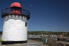 Red and White Lighthouse, Burry Port Stock Photo