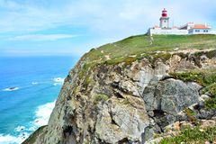 The lighthouse in Cabo da Roca. stock photo