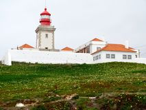 Lighthouse of Cabo da Roca Cape Roca in Sintra. The most western point of Europe. Lighthouse of Cabo da Roca Cape Roca in Sintra. The most western point of royalty free stock image