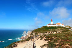 Lighthouse at Cabo da Roca, Portugal Royalty Free Stock Photography