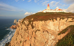 Lighthouse of Cabo da Roca on the rocks, Portugal Royalty Free Stock Photo