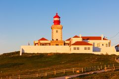 Lighthouse of Cabo da Roca at Sunset Light Royalty Free Stock Image