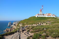 Lighthouse in Cabo da Roca - the westernmost extent of mainland Portugal Stock Images