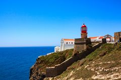 Lighthouse at Cabo de São Vicente in Portugal stock photo