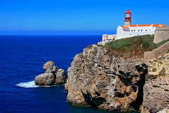 Lighthouse Cabo de Sao Vicente Stock Photos