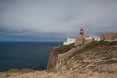 Lighthouse of Cabo de Sao Vicente in the morning mist Royalty Free Stock Photography