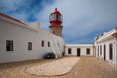 Lighthouse of Cabo de Sao Vicente in the morning mist Stock Images