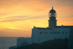 Lighthouse of Cabo Sao Vicente, Portugal at Sunset Stock Image