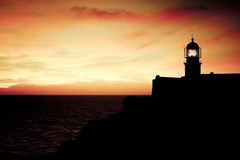Lighthouse of Cabo Sao Vicente, Portugal at Sunset Royalty Free Stock Photos