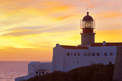 Lighthouse of Cabo Sao Vicente, Portugal at Sunset Stock Photo