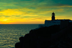 Lighthouse of Cabo Sao Vicente, Portugal at Sunset stock photography
