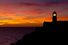 Lighthouse of Cabo Sao Vicente, Portugal at Sunset Stock Images