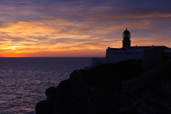 Lighthouse of Cabo Sao Vicente, Portugal at Sunset Royalty Free Stock Photography