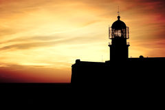 Lighthouse of Cabo Sao Vicente, Portugal at Sunset royalty free stock images