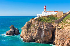 Lighthouse of Cabo Sao Vicente, Sagres, Portugal Royalty Free Stock Images
