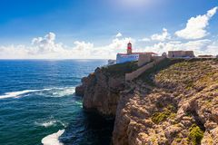 Lighthouse of Cabo Sao Vicente, Sagres, Portugal. Farol do Cabo Sao Vicente built in october 1851 Cabo de Sao Vicente is the royalty free stock photography